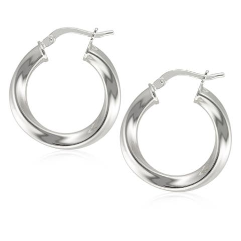 Forever Last 18 k Gold Plated Twisted Round Polished Hoop Earring