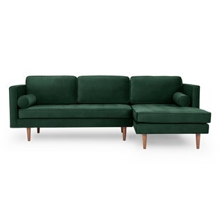 Kardiel Mid-Century Domus 98 Sofa Sectional Right - Width 98.4 x Depth 61 x Height 34.3 (Polyester - Shamrock - Assembly Required)