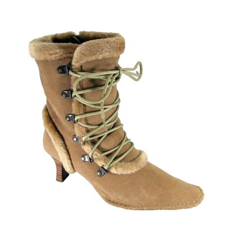 PEERAGE Viola Women Extra Wide Width Suede Dress Boots with Zipper
