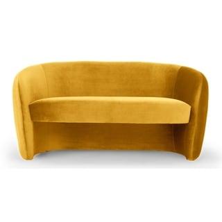 Kardiel Mid-Century Miranda 60 Fabric Sofa - Width 60.6 x Depth 31.1 x Height 30.3 (Yellow - Polyester - Round Arms)