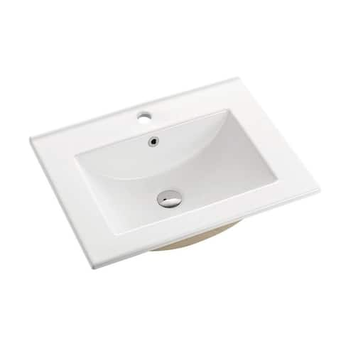"Swiss Madison Ceramic Vanity Top 24"" with single faucet hole"