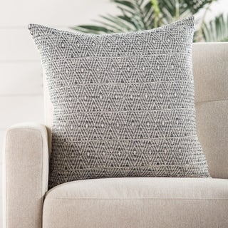 The Curated Nomad Otis 22-inch Trellis Grey/ White Throw Pillow