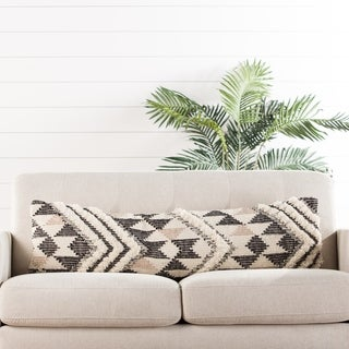 "Nikki Chu Nomadic Chevron Cream/ Black Lumbar Pillow 14""X48"""