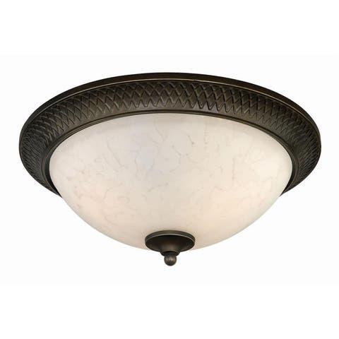 Nova 15-in W Bronze Flush Mount Ceiling Light Fixture White Glass - 15-in W x 6-in H x 15-in D