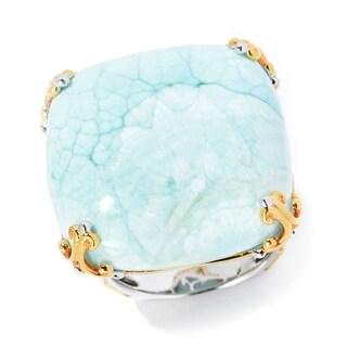 Michael Valitutti Palladium Silver Cushion Shaped Larimar Cocktail Ring