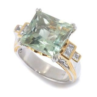 Michael Valitutti Palladium Silver Princess Cut Prasiolite White Topaz Ring