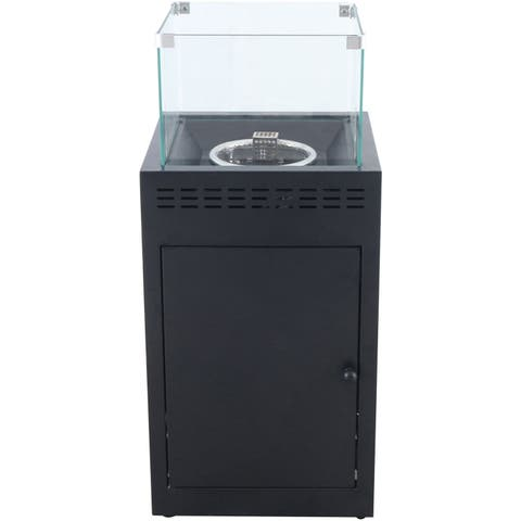 Hanover Naples 40,000 BTU Column Fire Pit with Glass Burner Enclosure