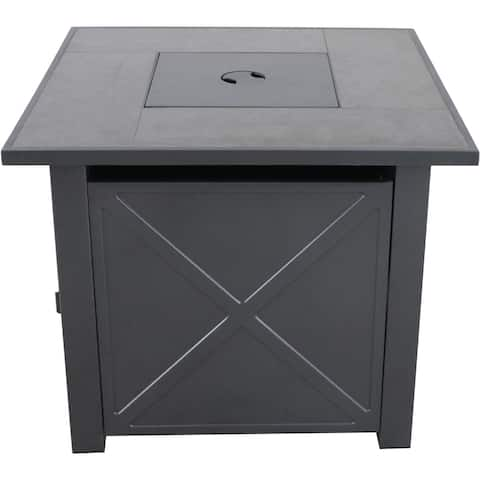 Hanover Naples 40,000 BTU Tile-Top Gas Fire Pit Table with Burner Cover and Lava Rocks