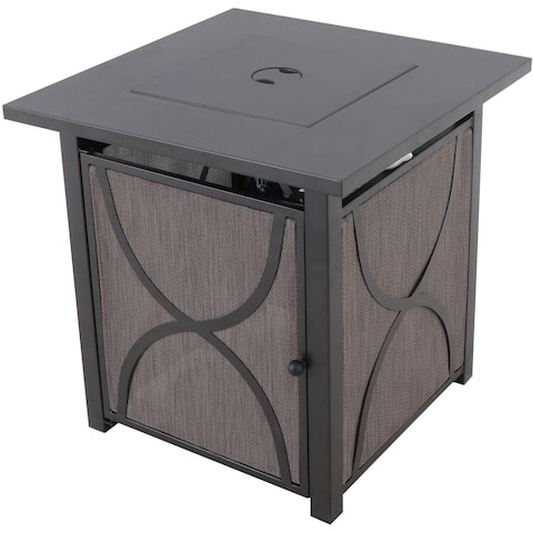 Hanover Palm Bay 40,000 BTU Tile-Top Gas Fire Pit Table with Burner Cover and Lava Rocks