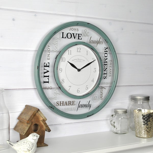 FirsTime & Co.® Family Glass Wall Clock