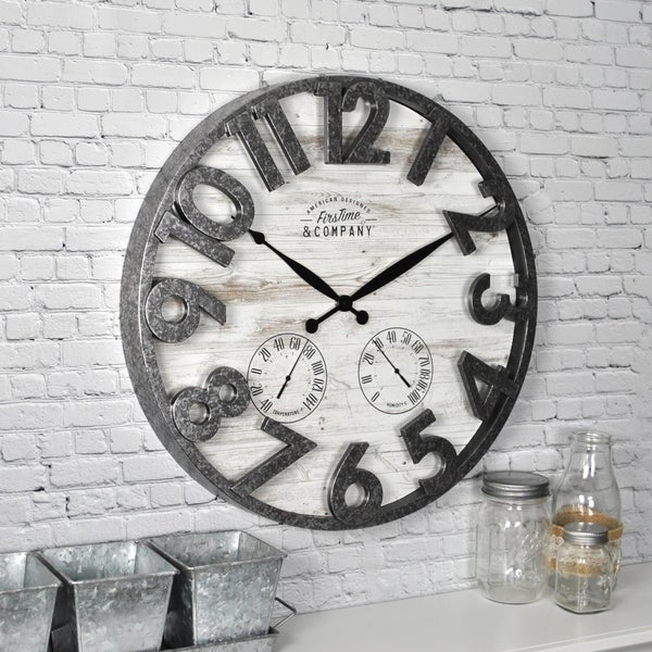 FirsTime & Co.® Shiplap Outdoor Wall Clock