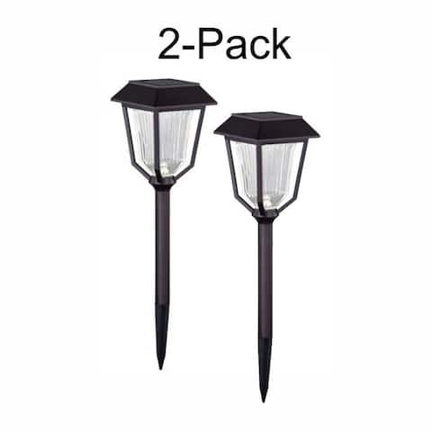 Terrace 2-Pack 4.75-in Outdoor LED Bronze Solar Landscape Light - 4.75-in W x 13.5-in H x 4.75-in D