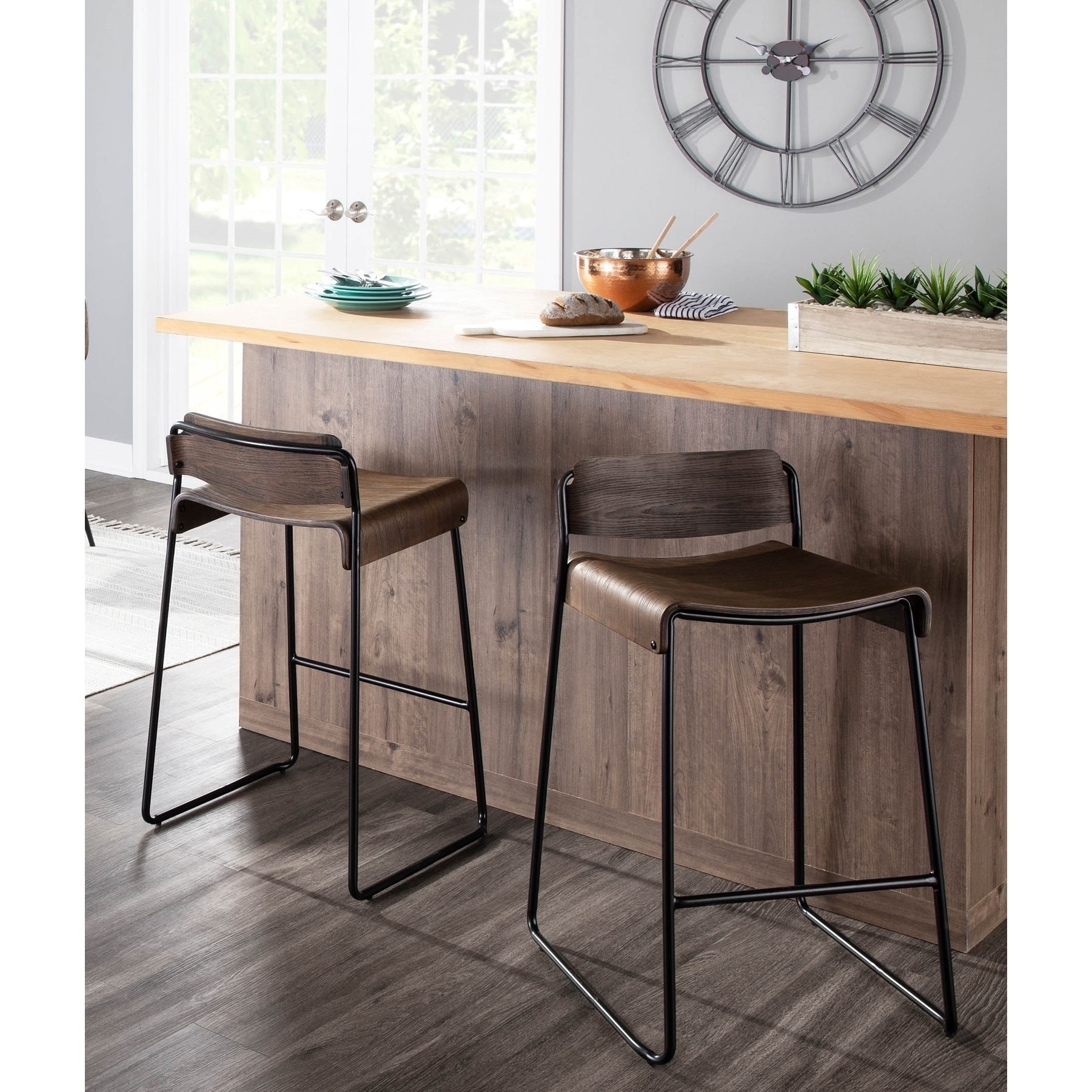 Picture of: Dali Low Back Industrial Black Metal Espresso Wood Counter Stool Set Of 2 N A Overstock 29196935
