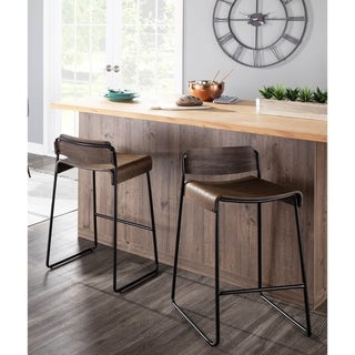 Dali Low Back Industrial Black Metal & Espresso Wood Counter Stool (Set of 2)