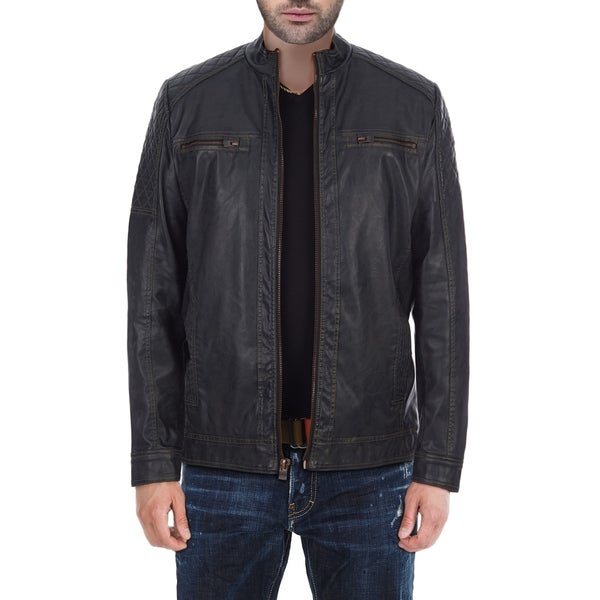 XRAY Jeans Mens Quilted PU Leather Jacket