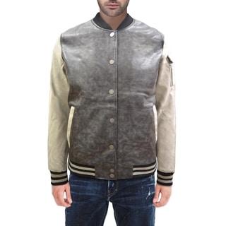 XRAY Jeans Men's PU Leather 2-Tone Bomber Jacket