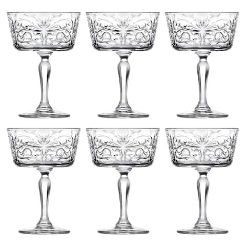 Majestic Gifts Inc. Crystal Champagne Goblet Set/6 w/ Textured Design- 9oz. -Made in Europe
