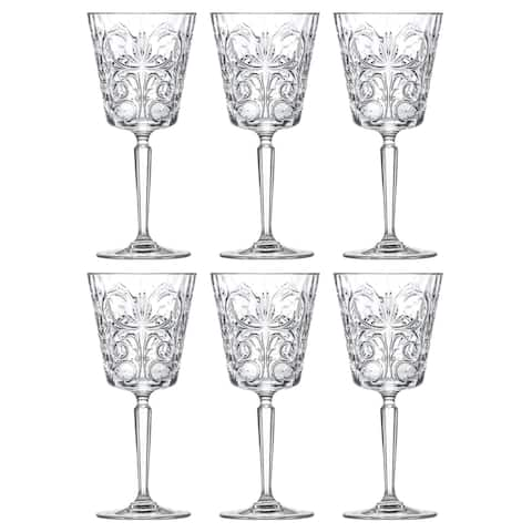 Majestic Gifts Inc. Crystal Wine/ Water Goblets Set/6 w/ Textured Design- 11oz. -Made in Europe