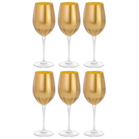Majestic Gifts Inc. Glass Wine/Water Goblet Set/6 - Gold Glass W/ Clear Stem - 14 oz. Made in Europe