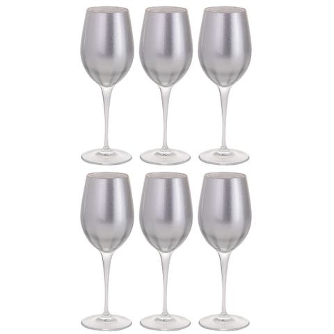 Majestic Gifts Inc. Glass Wine/Water Goblet Set/6 - Silver Glass W/ Clear Stem - 14 oz. Made in Europe