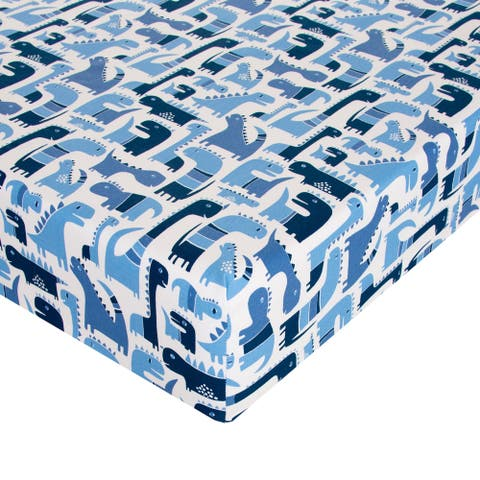Dino Blue Fitted Sheet