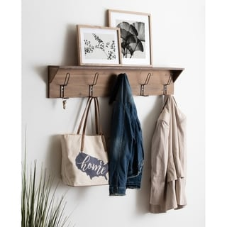 Kate and Laurel Rustic Coburn 5-Hook Shelf - 5 Hooks