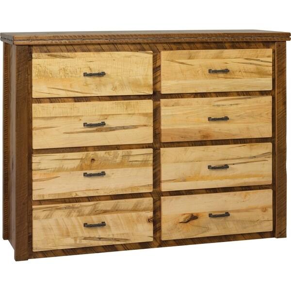 Western Twist 8 Drawer Dresser in Wormy Maple