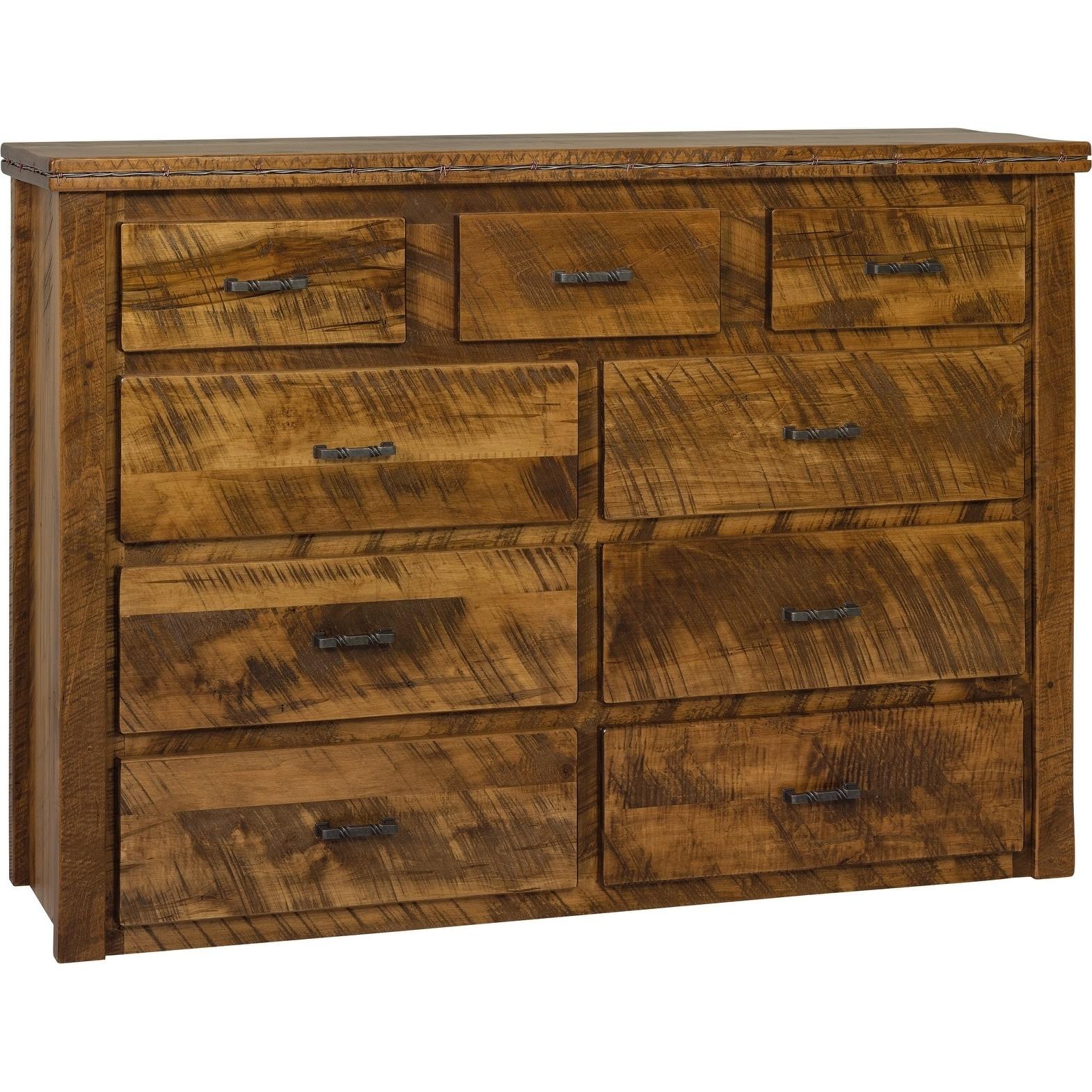 Western Twist 9 Drawer Dresser in Wormy Maple (Michaels Cherry Stain)