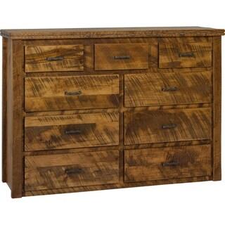 Western Twist 9 Drawer Dresser in Wormy Maple