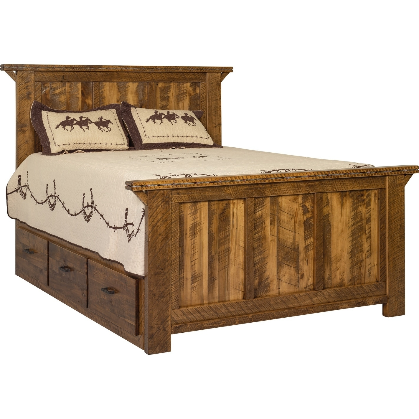 Western Twist Panel Bed with Storage in Wormy Maple (Queen - Provincial Stain)