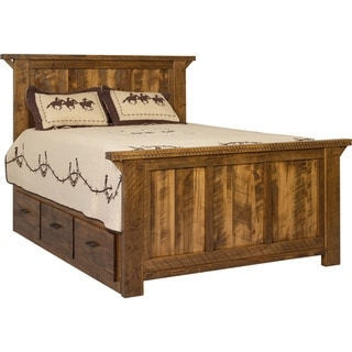 Western Twist Panel Bed with Storage in Wormy Maple (Full - Michaels Cherry Stain)