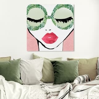 Wynwood Studio 'Plant Lady Glasses' Fashion and Glam Wall Art Canvas Print - Green, Pink