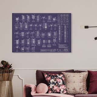 Wynwood Studio 'Royal Happy Hour' Drinks and Spirits Wall Art Canvas Print - Blue, White