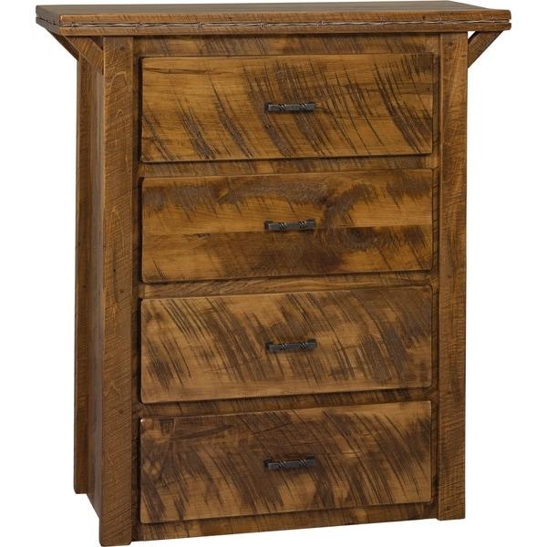 Western Twist 4-Drawer Dresser in Wormy Maple