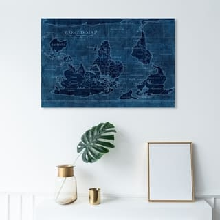Wynwood Studio 'Upside-Down Map of the World' Maps and Flags Wall Art Canvas Print - Blue, Blue