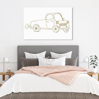 Wynwood Studio 'Pickup Truck' Transportation Wall Art Canvas Print - Gold, White