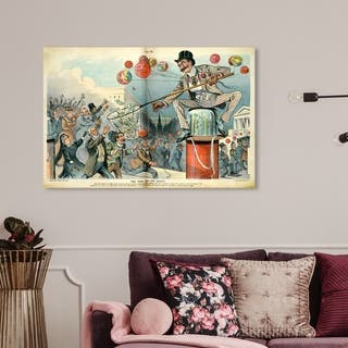 Wynwood Studio 'The Fool and His Money' Advertising Wall Art Canvas Print - White, Blue