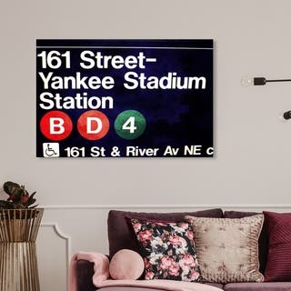 Wynwood Studio 'Yankee Stadium ' Architecture and Buildings Wall Art Canvas Print - Black, White