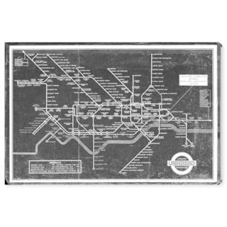 Wynwood Studio 'London Underground Map 1934' Maps and Flags Wall Art Canvas Print - Black, Gray