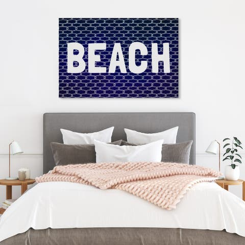 Wynwood Studio 'Beach Knot' Typography and Quotes Wall Art Canvas Print - Blue, White