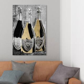 Wynwood Studio 'Dom Party For Three' Drinks and Spirits Wall Art Canvas Print - Black, Gold