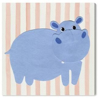 Wynwood Studio 'H for Hippopotomus' Animals Wall Art Canvas Print - Blue, Orange