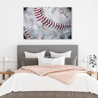 Wynwood Studio 'Baseball Made' Sports and Teams Wall Art Canvas Print - White, Red