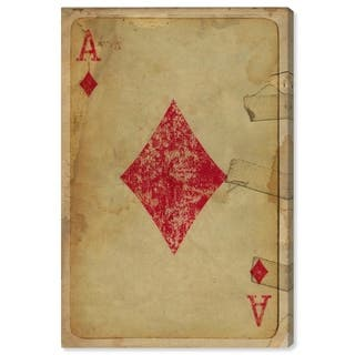 Wynwood Studio 'Ace of Diamonds' Entertainment and Hobbies Wall Art Canvas Print - Red, Brown