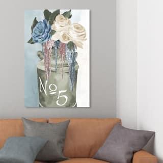Wynwood Studio 'Big Flower Jar' Floral and Botanical Wall Art Canvas Print - Green, Blue