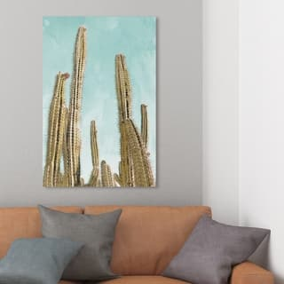 Wynwood Studio 'Gold Cactus' Nature and Landscape Wall Art Canvas Print - Gold, Green