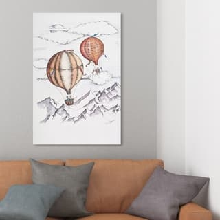 Wynwood Studio 'Paul Kaminer - Balloon Journey' Transportation Wall Art Canvas Print - White, Orange