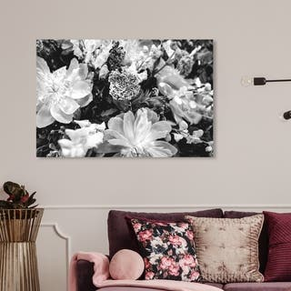 Wynwood Studio 'Dark Flora' Floral and Botanical Wall Art Canvas Print - Black, White