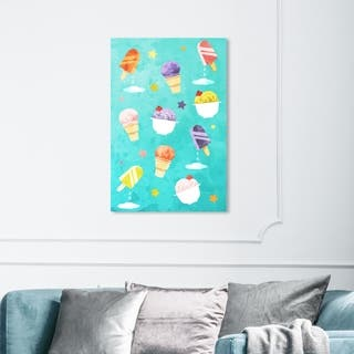 Wynwood Studio 'Fruit Punch Ice Creams' Food and Cuisine Wall Art Canvas Print - Blue, Pink