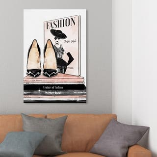 Wynwood Studio 'Fashion Magazine and Books' Fashion and Glam Wall Art Canvas Print - Black, Pink